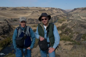 Geologists Bruce Bjornstad and Gene Kiver at Palouse Falls